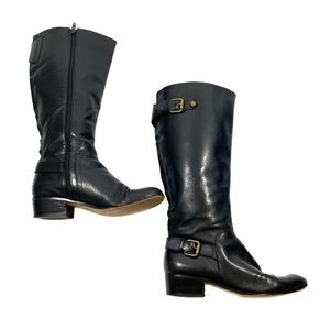 Corso Como Francine Buckle Tall Riding Black Boots